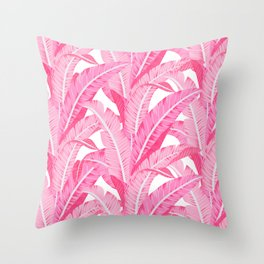 Pink banana leaves tropical pattern on white Throw Pillow