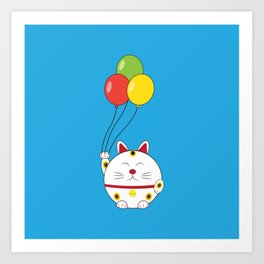 Fat Cat with Balloons Art Print