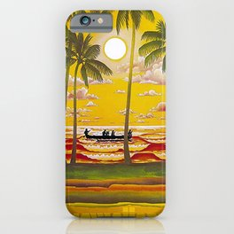 Surf Hawaii, Outrigger, Fly Hawaiian Air Vintage Travel Poster iPhone Case