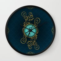monogram Wall Clocks featuring Monogram F by Britta Glodde