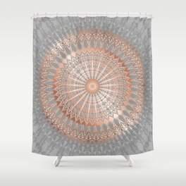 Rose Gold Gray Mandala Shower Curtain