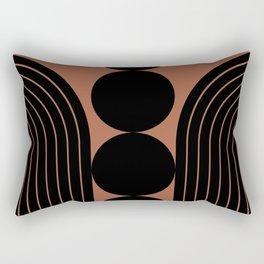 Abstraction_BLACK_LINE_PATTERN_PRIMITIVE_ART_001A Rectangular Pillow