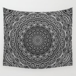 Zen Black and white mandala Sophisticated ornament Wall Tapestry