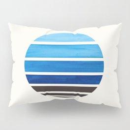 Prussian Blue Mid Century Modern Minimalist Circle Round Photo Staggered Sunset Geometric Stripe Des Pillow Sham