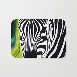 Green Black and White Zebra Bath Mat