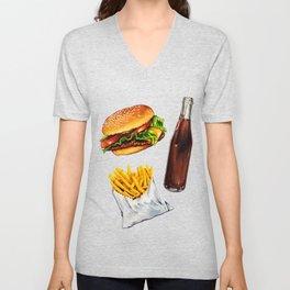 Cheeseburger Fries & Soda Pattern Unisex V-Neck