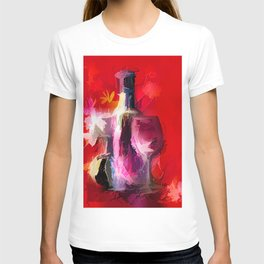 Fun Colorful Modern Wine Art (wine bottle & glasses) #society6 #wine T-shirt