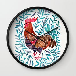 Le Coq – Watercolor Rooster with Turquoise Leaves Wall Clock