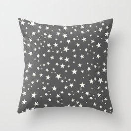 Stars.Space and night grey background Throw Pillow