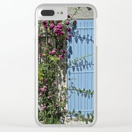 Blue door pink flowers - Provence, France Clear iPhone Case