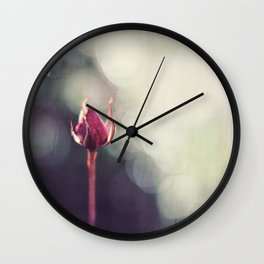 Rose Bud in Enchanting Bokeh Wall Clock