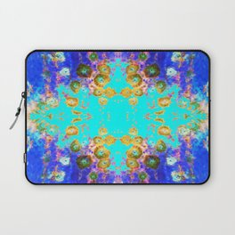 BLUE GARDEN GOLD-PINK  FLOWERS Laptop Sleeve