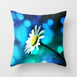 Azurite Malachite Daisy Throw Pillow