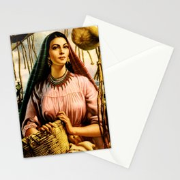 Jesus Helguera Painting of a Mexican Fisher Girl With Basket Stationery Cards