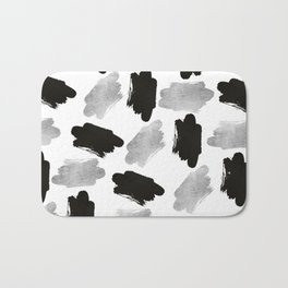 Black faux silver modern abstract brushstrokes Bath Mat