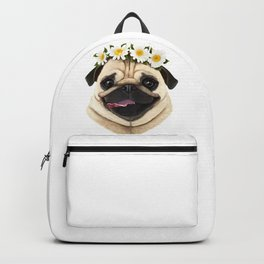 Pug with flowers Backpack