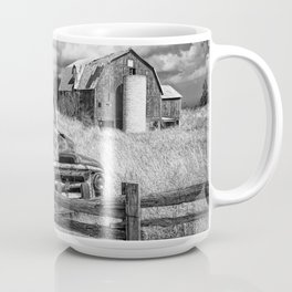 Black and White of Rusted International Harvester Pickup Truck behind wooden fence with Red Barn in Coffee Mug