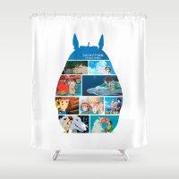 hayao miyazaki Shower Curtains featuring Hayao Miayazaki Films by adovemore