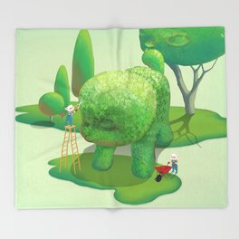 The Topiary Dog Throw Blanket
