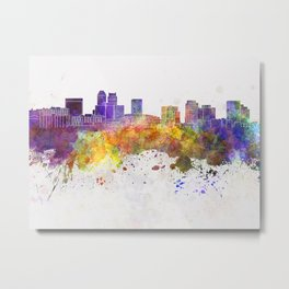 Newark skyline in watercolor background Metal Print