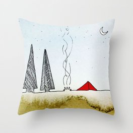 Little Red Tent Throw Pillow