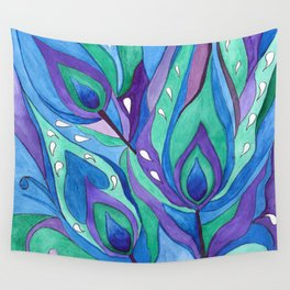 Watercolor . Abstraction . The peacock feather . 1 Wall Tapestry