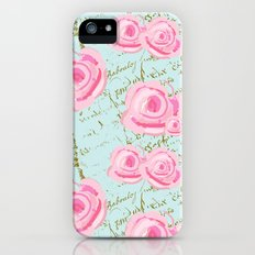 Pink  Roes and French Script iPhone (5, 5s) Slim Case