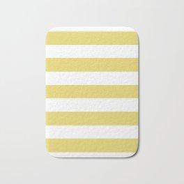Hansa yellow - solid color - white stripes pattern Bath Mat