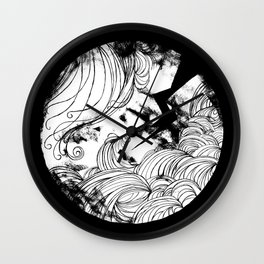 The wave in black Wall Clock