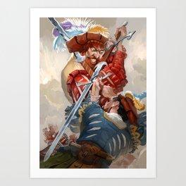 Knights fight Art Print