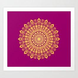Gold yoga mandala Indian henna pattern Art Print