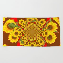 BROWN-RED SUNFLOWERS ABSTRACT Beach Towel