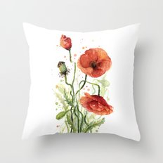 Red Poppies Watercolor Flower Floral Art Throw Pillow