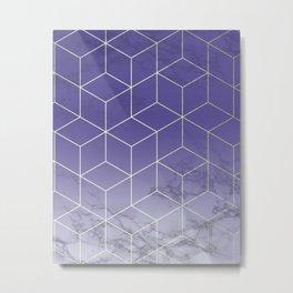 Geometric Marble Ultraviolet Purple Gold Metal Print