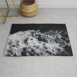 OCEAN - WAVES - SEA - ROCKS - DARK - WATER Rug