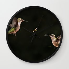 Hummingbirds and bee Wall Clock