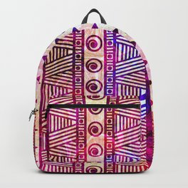 Batik Mud Cloth Tribal Geometric Pattern Backpack