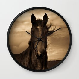 English horse in sepia tones Wall Clock