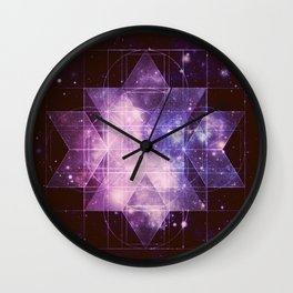 Galaxy Sacred Geometry: Purple Rhombic Hexecontahedron Wall Clock