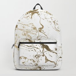 Modern chic faux gold white marble pattern Backpack