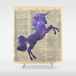 Glaxy Unicorn on Vintage Dictionary Page Shower Curtain