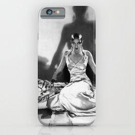 Fierce Josephine Baker Folies Bergère, Paris African American black & white photograph on Tiger Rug iPhone Case