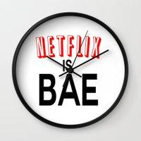 netflix Wall Clocks featuring Netflix Is Bae by Poppo Inc.