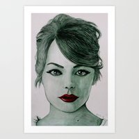 emma stone Art Prints featuring Emma Stone  by Kristy Holding