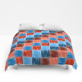 background squares blue red embroidery Comforters