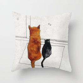 cat and dog  Throw Pillow