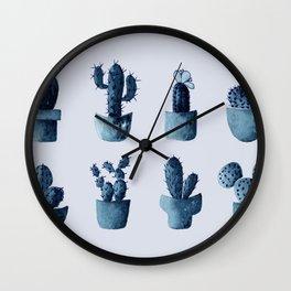 One cactus six cacti in indigo blue Wall Clock
