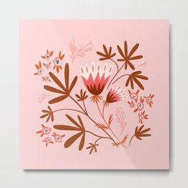Pink Floral Design Metal Print