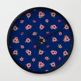 Sweet Pink Roses - navy blue Wall Clock