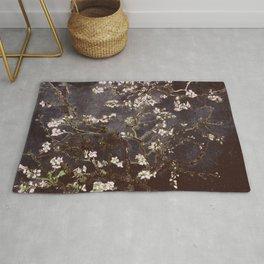 Vincent Van Gogh Almond Blossoms dark gray slate Rug